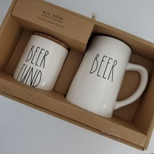 Rae Dunn BEER FUND bank and BEER stein set